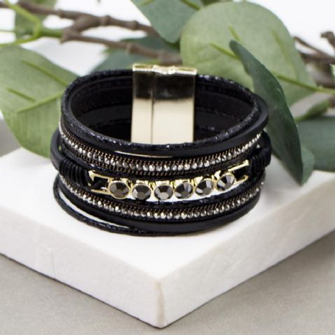 BLACK MULTI STRAND CRYSTAL CUFF